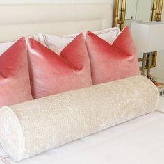 Gorgeous blush velvet pillows and custom bolster. To Die For! Room Ideas Bedroom, Bedroom Inspo, Home Bedroom, Bedroom Decor, Bedrooms, My New Room, My Room, College House, Dream Decor