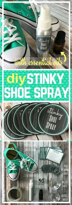 DIY Stinky Shoe Spray {essential oils} - simple to make, even stinkiest shoes smell fresh & clean again. A couple sprays of this all-natural powerful deodorizer knocks out shoe & foot odor in no time! **Plus there are free printables of recipe cards and labels. use for make & take class. #essentialoils #essentialoilrecipes #stinkyshoespray #DIYshoespray #essentialoilDIY #essentialoilsfordeodorizing #essentialoilsprays #naturalDIY #essentialoilcleaning #easyDIY
