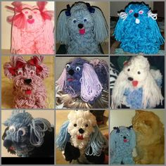 MY Yarn Puppy Family. The top ones Were Created by me. And my Wonderful family members Created a new generation of yarn puppies.