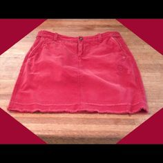 """♥️Cute Red Skirt♥️ Intentionally distressed. 5 pockets with striped lining. Zipper and button front. 17"""" long. 100% cotton. Old Navy Skirts"""