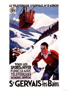 Vintage Skiing Posters and Prints St Gervais Les Bains