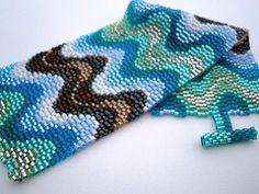Ripples of Color (loveliesfrommihana) Tags: blue brown black green bronze women purple handmade jewelry bracelet peyote bargello etsy cuff beaded beadwork handwoven beadwoven offloom loveliesfrommihana