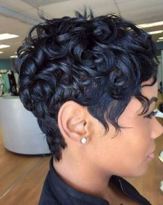 60 hair cuts for black women - this one is called: African American Curly Messy Pixie Short Black Hairstyles, Pixie Hairstyles, Braided Hairstyles, Hairstyle Short, Hairstyle Ideas, Updos Hairstyle, Layered Hairstyles, Short Haircuts, Feathered Hairstyles