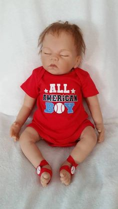 Newborn Baseball Baby Onsie w/ matching barefoot sandals  Can also buy matching Pacifier Clip  DOLL NOT FOR SALE....DOLL NOT INCLUDED