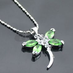 Cheap green dragonfly diamond necklace