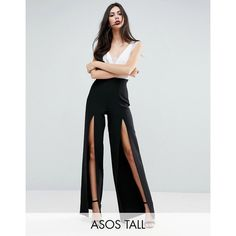 ASOS TALL Super Highwaist Wide Leg Pant with Split Detail (707.020 IDR) ❤ liked on Polyvore featuring pants, black, high waisted pants, wide-leg pants, asos, wide leg pants and tall pants