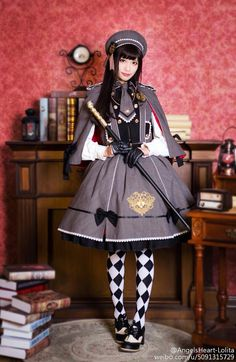 Elegant Angel Coronary heart - Emblem of Angels - Assortment of Lolita Outfits with Embroidery - Grey Web page in Gingham Coloration Harajuku Mode, Harajuku Fashion, Japan Fashion, Kawaii Fashion, Cute Fashion, Fashion Outfits, Rock Fashion, Fashion Boots, Estilo Lolita