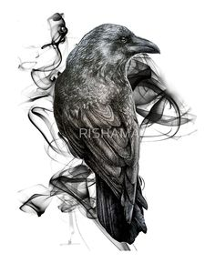 'crow gothic bird raven realism drawing sketch tattoo' Art Print by RISHAMA Tattoo Sketches, Drawing Sketches, Tattoo Drawings, Body Art Tattoos, Sleeve Tattoos, Cool Tattoos, Tatoos, Hand Tattoos, Crow Art