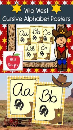 These Wild West themed cursive alphabet posters feature both capital and lower case letters accented with bright colors and western themed graphics! #teacherspayteachers #tpt #alphabet #cursive #backtoschool Alphabet Posters, Cursive Alphabet, Public School, Back To School, School Stuff, Teacher Newsletter, Lower Case Letters, Lowercase A, Wild West