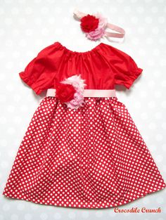 Red and Polka Dot Girls Dress with Headband,  Valentine's Dress, Girls Valentine's Dress, Valentine's Day on Etsy, $52.00