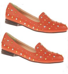 Orange Studded Embellished Round Toe Oxford Flat