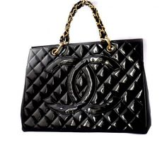 Chanel Quilted Patent Leather Large Timeless Shopping Tote Bag Purse