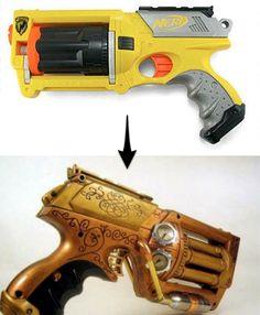 Nerf gun to steampunk gun.