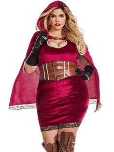 You're not scared of that big, bad wolf! This Velvet Plus Size Red Riding Hood Costume features a fitted velvet dress, velvet hooded cape with lace trim and faux leather waist cincher with hook clasps. Adult Costumes, Costumes For Women, Plus Size Halloween, Halloween Ideas, Red Riding Hood Costume, Red Costume, Character Costumes, Sexy Curves