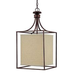 "Framed Linen Shade Lantern - Large- 28""h x 14""w    10' chain Bronze with linen shade and glass diffuser on bottom of shade. 2 60 watts medium base socket $325.00"