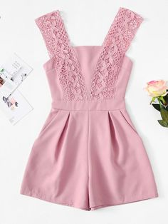 Lace Panel Zip Up JumpsuitFor Women-romwe Baby Dress Design, Baby Girl Dress Patterns, Little Girl Outfits, Toddler Girl Dresses, Kids Outfits, Teen Fashion Outfits, Girl Fashion, Jw Mode, Cute Dresses