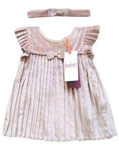 b92f70857 Ted Baker Baby Girls Dress Pink Velvet Headband Pleated Designer 3-6 Months