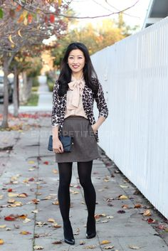 ExtraPetite.com - Style in a Suitcase, Part 5 - Tweed, Leopard Bow