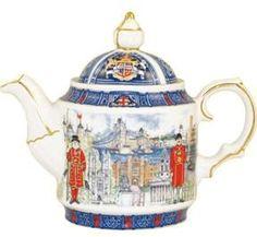 Thameside Collectible Teapot - James Sadler Teapots - Roses And Teacups Tea Cup Saucer, Tea Cups, English Teapots, China Teapot, Teapots And Cups, Tea Service, Chocolate Pots, Tea Time, Tea Party