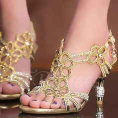 Tbdress.com offers high quality High Heel Rhinestone Hollow Women's Sandals Sandals unit price of $ 68.99.