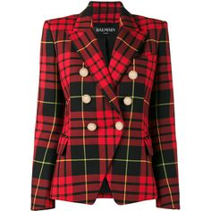 Balmain Cropped tartan blazer ($1,760) ❤ liked on Polyvore featuring outerwear, jackets, blazers, red, balmain, red plaid jacket, red blazer jacket, red cropped blazer and red tartan blazer