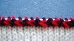 Estonian decorative chain stitch - Kihnu vitsa tööjuhend ringseks kudumiseks -