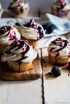 These Blackberry Lime Cupcakes with Lime Frosting are light and fluffy and full of delicious ingredients. Drizzle a blackberry jam on top for added color and sweetness.