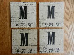 #Custom #Wedding Stone Tile Wedding / Engagement Coasters by Whimsical Creations by Ann | Hatch.co