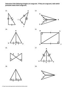 Triangle Congruence Worksheet Fall 2010 with Answer Key