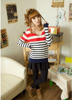 Vogue Women's Personal V-Neck Striped Sweater on BuyTrends.com, only price $18.00