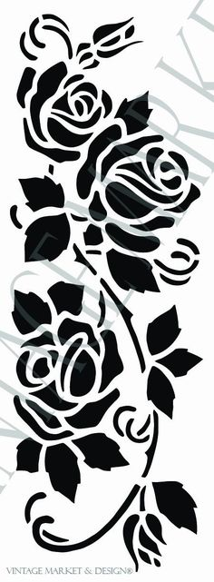 Cottage Rose Vine Image Dimensions: x Overall Dimensions: x **NOTE: Watermark will not show on your stencil Stencil Templates, Stencil Patterns, Stencil Designs, Embroidery Patterns, Rose Stencil, Stencil Painting, Fabric Painting, Flower Stencils, Kirigami