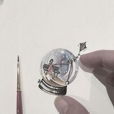 #minimaltattoo #miniaturetattoo #dotwork #watercolortattoo #tattooink #tattoodesign #tattoosketch #detailtattoos #tiny #snowglobe #kite