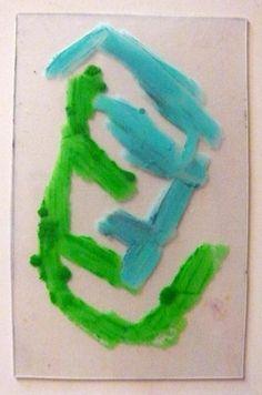 Size does(n't) really matter 205 Monotype matrix   6 x 9 cm   Oil pastel on polypropylene