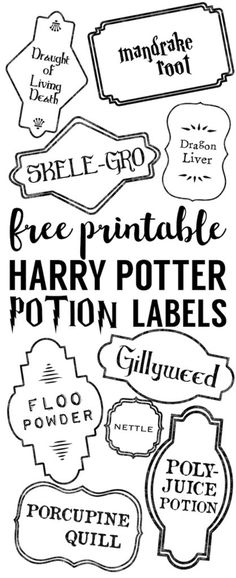 Harry Potter Potion Labels Printable, DIY and Crafts, Harry Potter Potion Labels Printable. Use this free printable to make Harry Potter potion bottle labels. Harry Potter Potion Labels, Cumpleaños Harry Potter, Harry Potter Printables, Harry Potter Adult Party, Harry Potter Halloween, Harry Potter Birthday, Harry Potter Ornaments, Harry Potter Christmas Tree, Harry Potter Crafts Diy