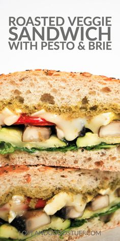 Roasted vegetable sandwiches with pesto and brie cheese. A delicious vegetarian sandwich filled with roasted portobello mushrooms, red peppers and zucchini with melted brie cheese and pesto. Burger Recipes, Meat Recipes, Seafood Recipes, Whole Food Recipes, Vegetarian Recipes, Pescatarian Diet, Pescatarian Recipes, Best Vegetable Recipes, Vegetable Side Dishes