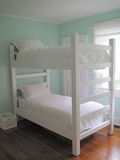 The Stucco Bungalow: Adventures in Tiny Home Improvement: DIY Bunk Beds - Part 2 (Built) Love the bunk beds, the wall color and the moldings