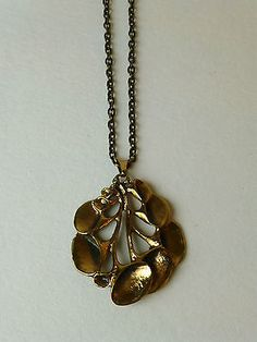 "Hannu Ikonen for Valo-Koru ~Mid-century modernist ""Reindeer Moss"" bronze necklace. Finland / Finnish"