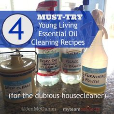 4 must-try Young Living essential oil green cleaning recipes. They work!