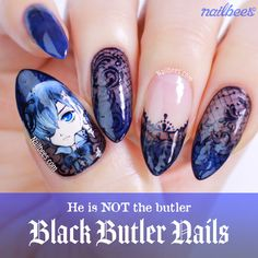 My Black Butler nail art! Watch the video on how I created this Black Butler nail art. I decided to paint Ciel Phantomhive from Black Butler (Kuroshitsuji). Bling Nail Art, Red Nail Art, Fall Nail Art, Nail Art Diy, Bling Nails, 3d Nails, Stiletto Nails, Acrylic Nails, Minimalist Nails