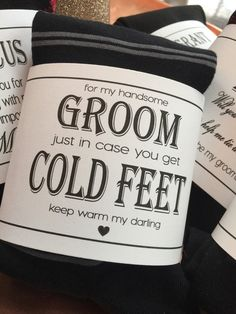 Cold Feet Personalized Bride Gift to Groom // Label and Groom Socks ...