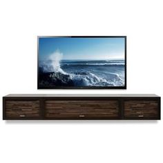 Floating Fireplace Wall Mount TV Stand - ECO GEO Espresso - Woodwaves Deco Tv, Wall Mount Entertainment Center, Entertainment Units, Regal Bad, Wall Mount Tv Stand, Floating Tv Stand, Floating Wall, Modern Tv Units, Floating Shelves Bathroom