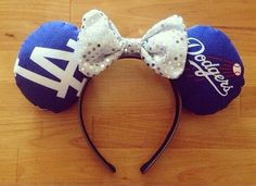 Dodgers inspired ears by Ifyoukeeponbelieving on Etsy, $22.00