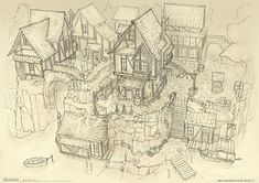 How to draw a historic village - part 1 - Great as Inspiration for a book / Story / manga - Perspective - Drawing Reference