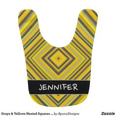 Grays & Yellows Nested Squares Pattern + Name Jennifer Grey, Pattern Names, Grey Yellow, Baby Bibs, Squares, Color, Design, Bibs, Bobs