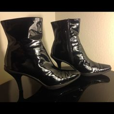 Me too booties size 9.5M Vernis mirror black shiny booties. There is some wear on both heel tips (pic 4) Man made materials. me too Shoes Ankle Boots & Booties