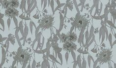Eucalypt (P3023) - St Vitus Wallpapers - A stylised floral design with Eucalyptus flowers and buds in a silver grey with dark grey and blue flowers against a pale grey blue background. Other colours available. Please request sample for true colour match.