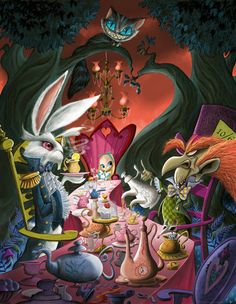 ''Mad Tea Party Reunion'' Alice in Wonderland Giclée on Canvas by guy vasilovich Lewis Carroll, Alice In Wonderland Animated, Alice In Wonderland Tea Party, Disney Kunst, Disney Art, Disney Stuff, Disney Movies, Walt Disney, Alice Madness