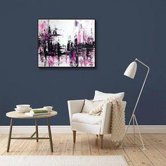 Abstract painting original acrylic wall art decor Pink Black
