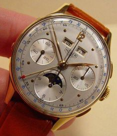 Heuer Tiple Date Moonphase Chronograph Watch Seiko Diver, Dream Watches, Fine Watches, Cool Watches, Men's Watches, Patek Philippe, Moonphase Watch, Feta, Telling Time