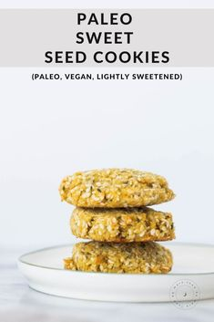 These cookies are totally grain-free and contain slightly less sweetener, perfect for breakfast or tea time. Paleo Dessert, Healthy Dessert Recipes, Real Food Recipes, Paleo Cookie Recipe, Paleo Cookies, Seed Cookies, Paleo Chocolate Chips, Low Calorie Desserts, Best Sweets